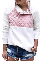 Pink White Fleece Asymmetrical Snap Pullover
