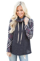 Plaid Sleeve and Cowl Neck Charcoal Drawstring Sweatshirt