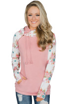 Floral Splice Pink Striped Drawstring Hoodie