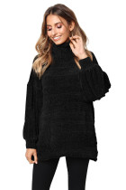Black Soft Velvet Knit Sweater Jumper