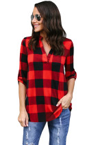Red Black Tricolor Plaid V Neck Blouse