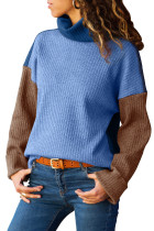 Blue Brown Color Patchwork Ribbed High Neck Sweater