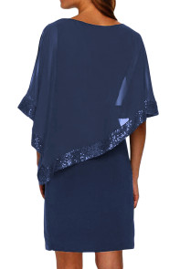 Navy Sequined Poncho Mini Dress