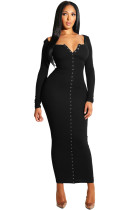 Black Long Sleeve Snap Button Ribbed Dress