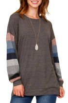 Multicolor Striped Contrast Sleeve Brown Sweatshirt