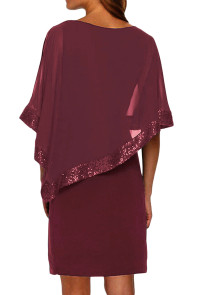 Burgundy Sequined Poncho Mini Dress