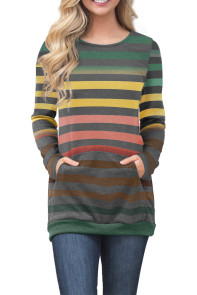 Green Red Color Gradation Striped Sweatshirt