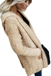 Apricot Fluffy Hooded Open Front Cardigan