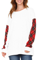 Scotland Plaid Contrast Sleeve White Sweatshirt