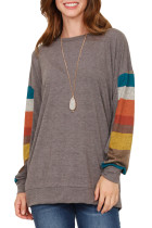 Multicolor Striped Contrast Sleeve Coffee Sweatshirt