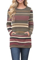 Red Olive Color Gradation Striped Sweatshirt