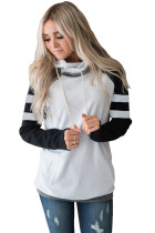Black Varsity Striped Sleeves Double Hooded Sweatshirt