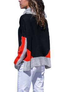 Coral Gray Colorblock Detail Black Sweater