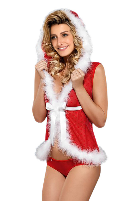 Fur Trim Hooded Vest Sheer Red 2pcs Christmas Set