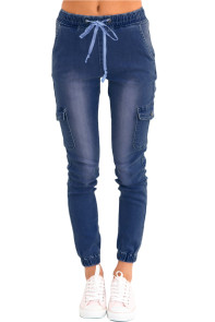 Dark Drawstring Ankle Pocket Denim Jeans