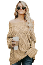Khaki Off The Shoulder Winter Sweater
