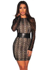 Black Lace Nude Illusion Corset Belted Mini Dress
