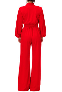 Red Lantern Sleeve Belted Wide Leg Jumpsuit
