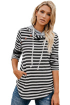 Black White Striped Button Detail Hoodie