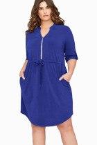 Navy Blue 3/4 Sleeve Plus Size Casual Jersey Dress