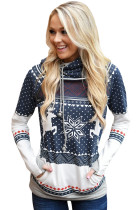 Navy Snow Reindeer Double Hooded Sweatshirt