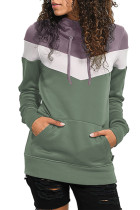 Dark Purple Hooded Green Colorblock Sweatshirt