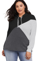 Black Hooded Tricolor Blocked Plus Size Top
