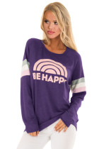Purple Be Happy Graphic Sweatshirt