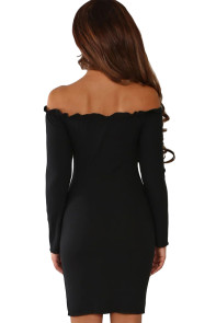 Black Button Front Ribbed Bardot Mini Dress