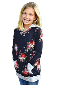 Navy Floral Hooded Girls' Sweatshirt