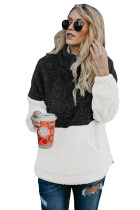 Black White Zip Neck Oversize Fluffy Fleece Pullover