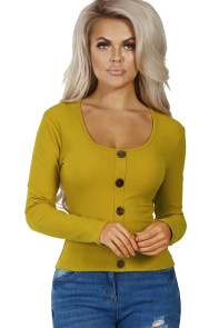 Mustard Subtly Ribbed Button Front Long Sleeve Top