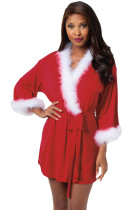 Marabou Trimmed Red Christmas Robe