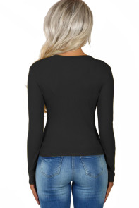 Black Subtly Ribbed Button Front Long Sleeve Top