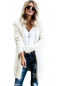 White Fluffy Hooded Open Front Cardigan