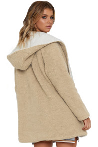 Khaki White Lam Wool Reversible Coat