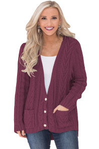 Burgundy Button the Deep V Front Cable Sweater Cardigan