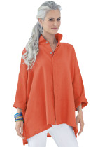 Orange Stand Collar Button Front Blouse