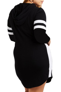 Black Varsity Striped Plus Size Sweatshirt Dress