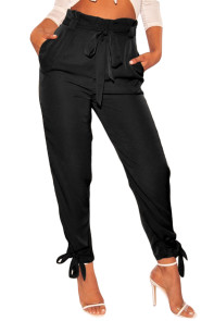 Black High Waist Belted Tie Up Leg Pants