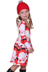 Amiable Santa Claus Printed Girls Christmas Dress