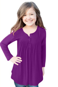 Purple Long Sleeve Button Detail Pleated Little Girls Top