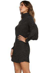 Black Corduroy Ribbed High Neck Mini Dress