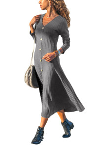 Gray Button Front Long Sleeve Ribbed Maxi Dress