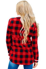 Red Plaid Fleece Pullover Sweatshirt