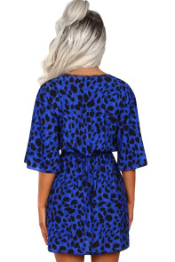 Blue Leopard Print Tie Waist Mini Dress