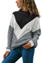 White Chevron Accent Black Gray Sweater