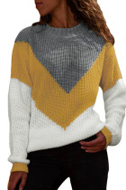 Yellow Chevron Accent Grey White Sweater