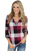 Purple Red Multicolor Plaid V Neck Blouse