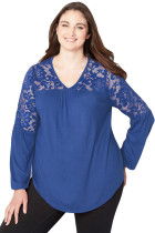 Royal Blue Lace Trim Keyhole Back Plus Size Top
